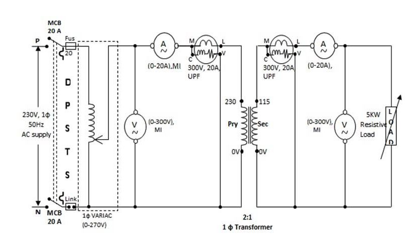 load test e1464953244484 to determine the efficiency and voltage regulation of a single phase